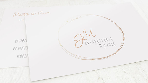 Antwortkarte Hochzeit - Goldhauch