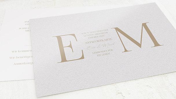 Antwortkarte Hochzeit - Golddruck