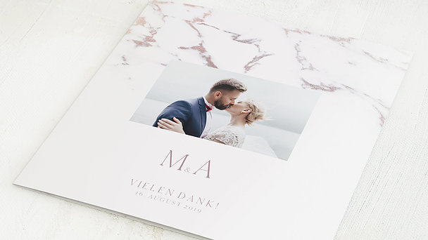Danksagungskarten Hochzeit - Marmoriert