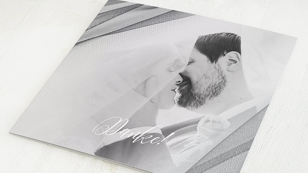 Danksagungskarten Hochzeit - Tüllband